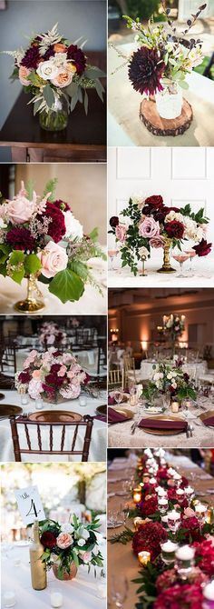 burgundy and blush fall wedding centerpieces for 2018 wedding centerpieces Top 18 Burgundy Wedding Centerpieces for Fall 2018 - Page 2 of 2 - Oh Best Day Ever Blush Fall Wedding, Burgundy And Blush Wedding, Winter Wedding Colors, Fall Wedding Flowers, Wedding Bouquets, Autumn Wedding, Fall Flowers, Fall Bouquets, Burgundy Top