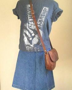 Distressed leather crossbody bag, Linea Caldo, small leather messenger bag, small boho festival tote