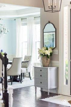 Furniture and Decor for a Small Entry and Foyer. Loving the mirror, small buffet. Furniture and Decor for a Small Entry and Foyer. Loving the mirror, small buffet, vase, and flowers Foyer Furniture, Entryway Decor, Small Furniture, Entry Foyer, Small Entry Decor, Furniture Ideas, Green Furniture, Furniture Buyers, Entryway Ideas