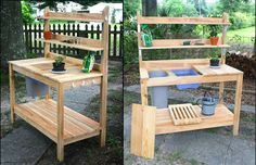 50 Best Potting Bench Ideas To Beautify Your Garden Potting Bench Plans, Potting Tables, Outdoor Projects, Garden Projects, Wood Projects, Garden Table, Lawn And Garden, Garden Benches, Garden Sheds
