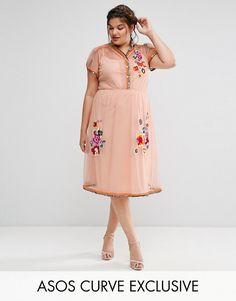 25d434f02d6 ASOS CURVE PREMIUM Mesh Skater midi dress with Embellishment   Embroidery  at asos.com. Asos CurveCurvy OutfitsPlus Size DressesSkater ...