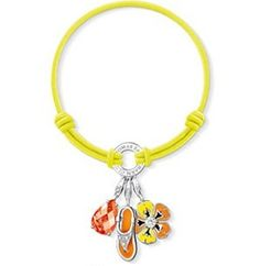 Thomas Sabo Bracelets Cheap Neon Yellow Elastic Bracelet Embellished With Three Charms