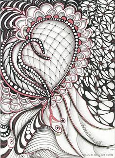 "Heart Felt Zentangle 5x7"", Pigma Micron Pen, Graphite & Sakura Stardust Pen © 2012  by Sharla R. Hicks"