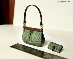 LV Ooak Designer Handbags Bag Purse with Wallet 1/12 Dollhouse Miniatures handmade