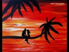 Acrylic Painting on Canvas - Romantic Sunset Easy to Paint for Beginners
