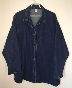 Vtg Womens GLORIA VANDERBILT Blue Jean Denim Jacket Large L Buttoned Long EUC #GloriaVanderbilt #JeanJacket