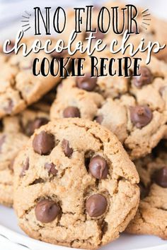 Gluten-Free Chocolate Chip Cookies (Flourless) - Spaceships and Laser Beams Chocolate Chip Cooke Recipe, Flourless Chocolate Chip Cookies, Flourless Desserts, Chocolate Chip Cookies Ingredients, Healthy Chocolate Chip Cookies, Gluten Free Chocolate Chip Cookies, Sugar Free Chocolate Chips, Chocolate Chip Recipes, Chocolate Cake