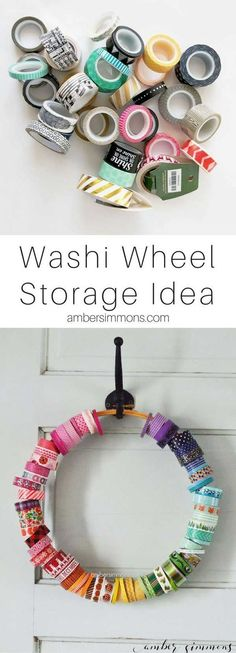 The Simple Washi Wheel is part of Craft Organization Scrapbook - The Simple DIY Washi Wheel is the easiest way to organize and store your washi tape so that you can see all the pretty patterns Ribbon Organization, Ribbon Storage, Scrapbook Organization, Craft Organization, Organizing, Planner Organization, Planner Supplies, Craft Supplies, Office Supplies