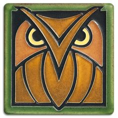 4x4 Owl - Green Oak from Motawi Tileworks