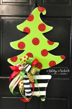 Christmas Tree - Black and White Stripe Pot & Glitter Dot - STANDING Table Top Version Christmas Tree - Whimsical with Red Glitter Dots - Door Hanger Grinch Christmas Tree, Whimsical Christmas Trees, Grinch Christmas Decorations, Christmas Tree Painting, Christmas Yard, Christmas Party Games, Christmas Design, Christmas Lights, Christmas Crafts