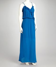 Take a look at this Princess Blue Ruffle Silk Surplice Maxi Dress by Love Token on #zulily today!