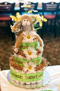 Diaper cake for my daughters shower, made by Contessa T. Robinson.