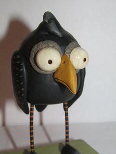 Meet Edgar! The Halloween raven! Edgar will steal your Halloween heart! He stands almost 4 inches tall. If you are a collector of my art work this