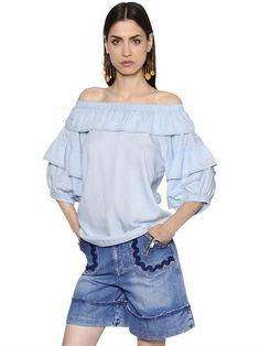SONIA RYKIEL OFF THE SHOULDER RUFFLED CHAMBRAY BLOUSE, LIGHTBLUE. #soniarykiel #cloth #shirts