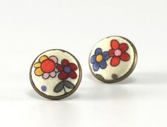 Stud Earrings - Flowers For Girls - Pink Orange Red Green Flowers Studs - Lovely Shabby Chic Fabric Buttons Jewelry - Antique Posts by PatchworkMillJewelry on Etsy https://www.etsy.com/listing/202225653/stud-earrings-flowers-for-girls-pink