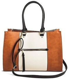 Women's Color Block Tote Handbag with Zip Front Pocket Cognac - Merona