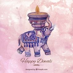 Watercolor diwali background with an elephant Free Vector Diwali Cards, Diwali Greeting Cards, Diwali Greetings, Diwali Diya, Diwali Wishes In Tamil, Diwali Wishes Messages, Feliz Diwali, Diwali Elephants, Mockups Gratis