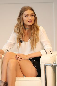 Gigi Hadid speaks during Tommy x GIGI Press Conference at Stanley H. Kaplan Penthouse at Lincoln Center on September 9, 2016 in New York City.