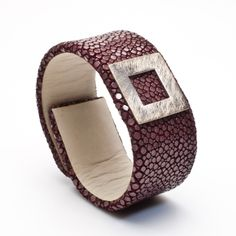 Silver and fish leather cuff available at GALLERIA J in San Gimignano, Italy
