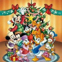Christmas - Disney - Mickey & Minnie Mouse & Friends Disney Christmas Cards, Mickey Mouse Christmas, Mickey Mouse And Friends, Mickey Minnie Mouse, Christmas Art, Disney Mickey, Disney Pixar, Walt Disney, Disney Holidays