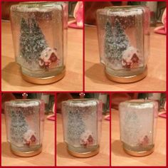 Gingerbread house festive Christmas DIY glitter snow globe in a jar. Fimo gingerbread house and bought cake topper tree glued to lid of jar. Filled with filtered water, vodka, glitter and glycerin and glued lid on. Voila!