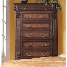 Grand Prado Collection Chest Brown Cherry Finish 6 drawers
