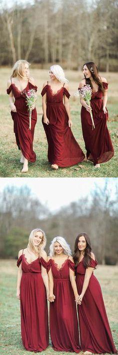 burgundy long chiffon bridesmaid dress, 2017 long bridesmaid dress