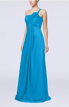 Cornflower Blue Elegant Empire Sleeveless Zip up Chiffon Ruching Evening Dresses - iFitDress.com