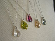 Bridesmaid Perfect Gift -- Swarovski Baroque Crystal on Sterling Silver Twisted Chain. $36.00, via Etsy.