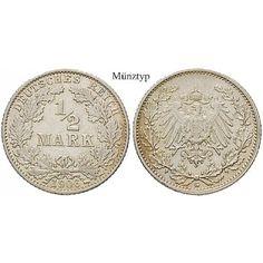 Deutsches Kaiserreich, 1/2 Mark 1915, G, f.st, J. 16: 1/2 Mark 1915 G. J. 16; fast stempelfrisch 14,50€ #coins