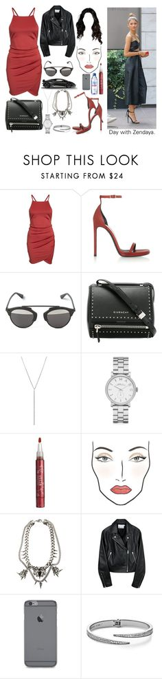 """""""Day with Zendaya"""" by perfectiongod ❤ liked on Polyvore featuring Coleman, Yves Saint Laurent, Christian Dior, Givenchy, Diane Kordas, Marc by Marc Jacobs, Stila, MAC Cosmetics, Fallon and Evian"""