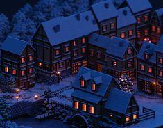 Voxels | Snowy village