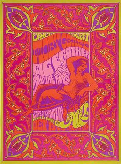 Big Brother and The Holding Company classic rock concert poster  Filmore