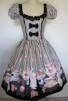 Gothic Lolita, Sweet Lolita Black Stripe Bunny Tea Party OP Dress. I must have a tea party dress!