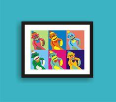 Sock Monkey  Pop Art Original Print by C by PopGozTheEasel on Etsy, $8.00