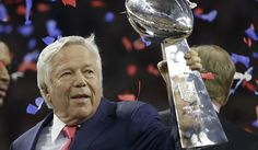 New England Patriots owner Robert Kraft holds the the Vince Lombardi Trophy after the NFL Super Bowl 51 football game Sunday, Feb. 5, 2017, in Houston. (AP Photo/Elise Amendola)