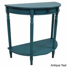 Add a touch of vintage Shabby Chic style and a splash of color to your furnishings with this wall table. This table features a classic half-moon design, has a striking vintage style, and is available in two striking varieties of antique finish.
