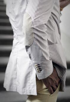 The professor patch blazer, striped.