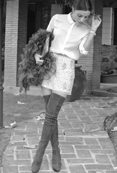 Dries Van Noten  Jackets, Miu Miu  Boots and Zara  Skirts