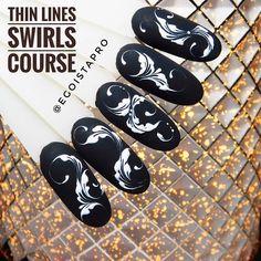 Line Nail Art, Lines On Nails, Everybody Else, Perfect Nails, Black Nails, Swirls, You Nailed It, Hair And Nails, Nail Designs