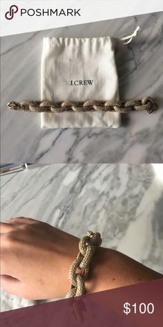 J Crew Classic Pave Link Bracelet J Crew pave link bracelet in gold. Hardly worn and in great condition! J. Crew Jewelry Bracelets