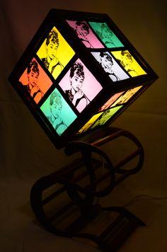'The flower of pop art' Handmade lamp,paper,ink drawing,wood