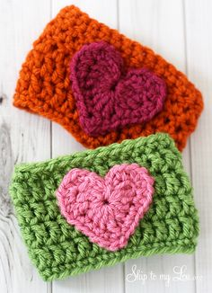 heart crochet coffee cozies...I would use this pattern to make headband instead.