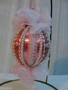 Beautiful Pink and Pearl Handmade Christmas Ornament. Handmade pink and white organza bows.