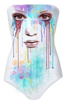 """Decorate a White Swimsuit"" by kari-c ❤ liked on Polyvore featuring art"