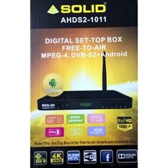 SOLID AHDS2-1011 Android+DVBS2+MPEG4+UltraHD FTA Set-Top Box with HDMI Cable
