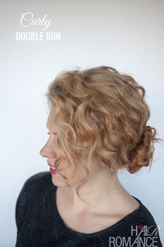 Hairstyle tutorial for curly hair - the double bun