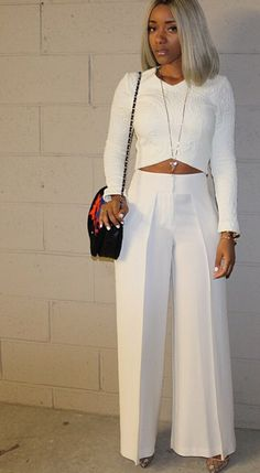 everything is so right with this look- hair cut, hair color, crop top, wide leg pants