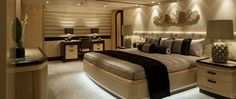 Motor yacht Sea Rhapsody, Amels 212 Superyacht, interior images, Guest Bedroom, Andrew Winch Designs