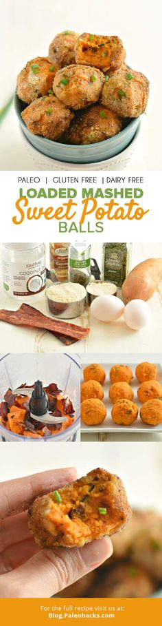 These Loaded Mashed Sweet Potato Balls with bacon, coconut and almond make a tasty side, appetizer or anytime snack! For the full recipe v. Potato Recipes, Veggie Recipes, Paleo Recipes, Cooking Recipes, Potato Ideas, Cooking Kids, Paleo Ideas, Cooking 101, Easy Cooking